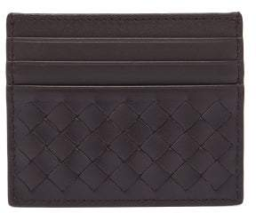 Bottega Veneta Intrecciato Leather Card Holder - Mens - Brown