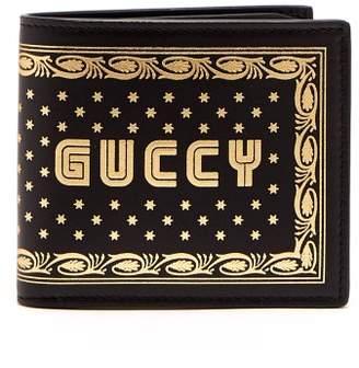 802394af3ff Gucci Guccy Print Bi Fold Leather Wallet - Mens - Black