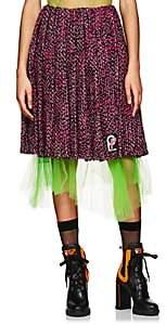Prada Women's Logo Pleated Wool Tweed Skirt-Pink