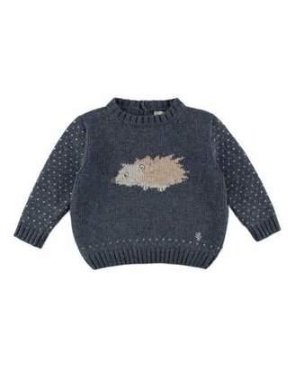 Pili Carrera Long-Sleeve Porcupine-Intarsia Pullover Sweater, Blue, Size 12M-4