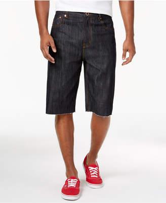 Lrg Men's Make Jeans Not War Premium-Fit Raw-Edge Denim Shorts
