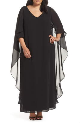 Xscape Evenings Cape Overlay Chiffon Gown