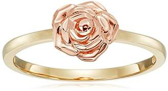 14k Rose Gold Flower Ring with Yellow Gold Ring