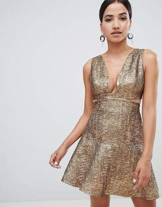 Forever Unique Metallic Cut Out Dress