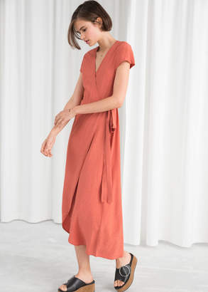 And other stories Curved Hem Midi Wrap Dress