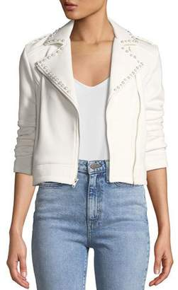 Cupcakes And Cashmere Bernadette Pearl-Studded Scuba Moto Jacket