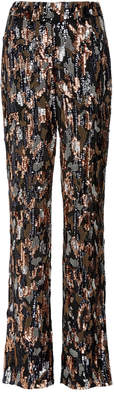 Sally LaPointe Embroidered Tortoise Silk Georgette Pants