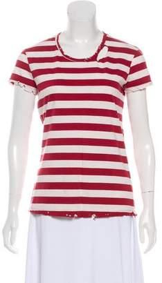 RtA Denim Striped Short Sleeve Top