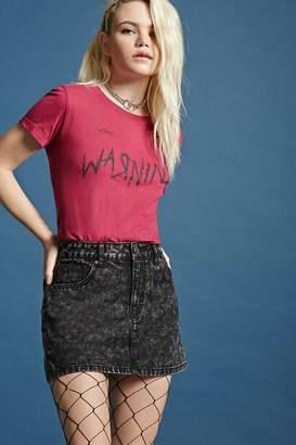 Forever 21 Acid Wash Denim Mini Skirt