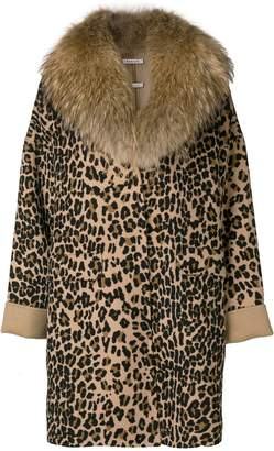 P.A.R.O.S.H. leopard print fur trim coat