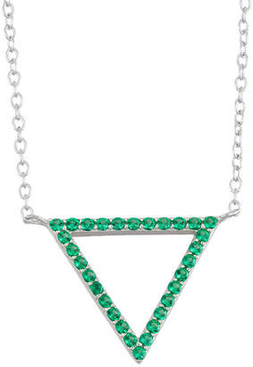 FINE JEWELRY Simulated Emerald Sterling Silver Triangle Pendant Necklace