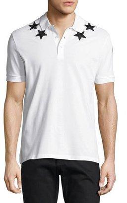 Givenchy Cuban-Fit Star-Appliqué Polo Shirt, White/Black $550 thestylecure.com