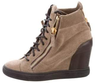 Giuseppe Zanotti Suede High-Top Wedge Sneakers