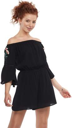Love, Fire Love Fire Juniors' Embroidered Off-the-Shoulder Romper