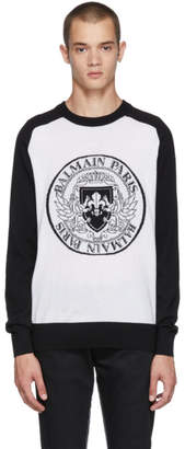 Balmain Black and White Logo Crest Sweater