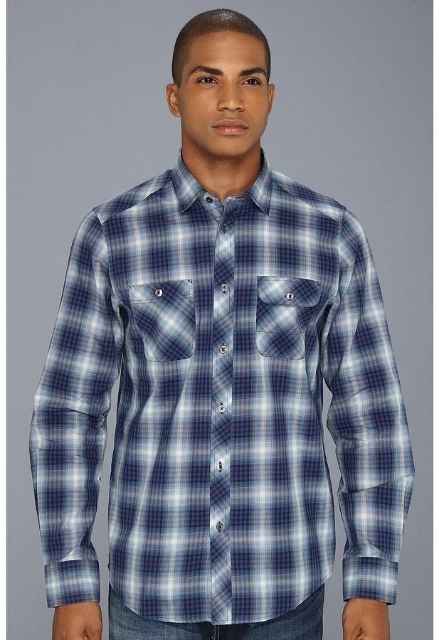 Ben Sherman Ombre Plaid L/S Woven Shirt (Navy Blazer) - Apparel