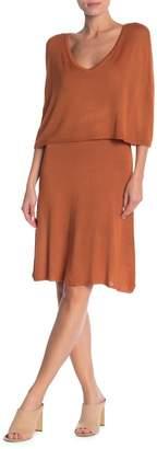 Vertigo V-Neck Cape Sweater Dress