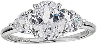 Decadence Women's Sterling Rhodium 9.00mm Oval and Heart Cut Engagement Ring