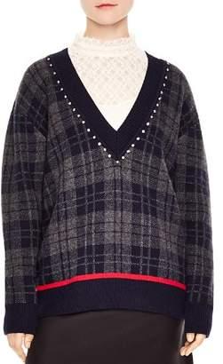 Sandro José Plaid V-Neck Sweater