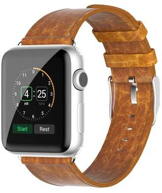 Beikel Apple Watch 3 38mm Genuine Leather Strap Wrist Band for Apple Watch Series 1 2 & 3 with Metal Clasp