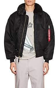 Alpha Industries Men's Faux-Fur-Trimmed B-15 Flight Jacket-Black