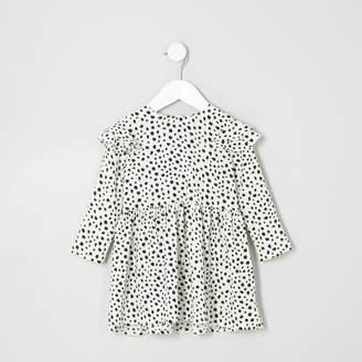River Island Mini girls Cream animal frill babydoll dress