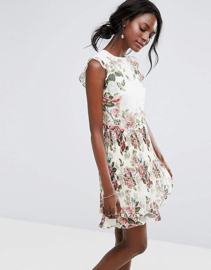 Oasis Royal Worcester Floral Ruffle Detail Pleated Skater Dress