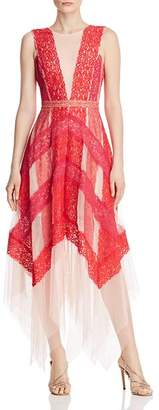 BCBGMAXAZRIA Color-Block Lace Gown