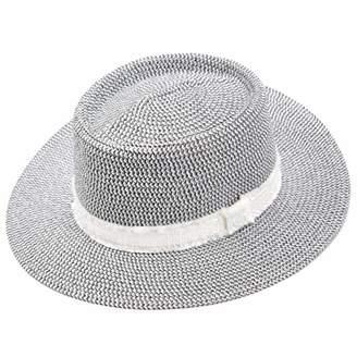 accsa Women Wide Brim Straw Panama Bucket Fedora Black Sunhat
