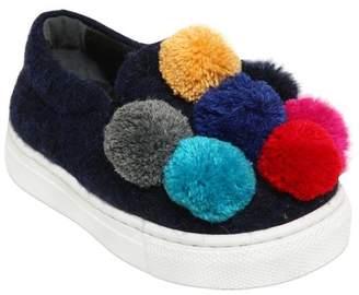 Wool Felt Slip-On Sneakers W/ Pompoms