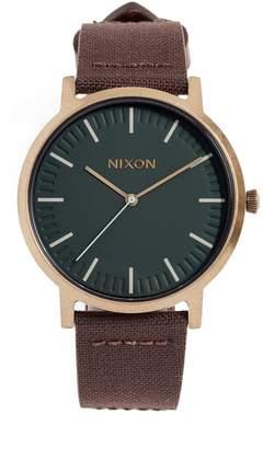 Nixon Porter Leather Strap Watch, 46mm