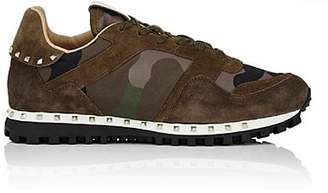 Valentino Men's Studded Nylon & Suede Sneakers - Olive
