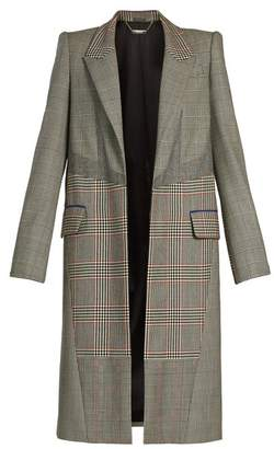 Alexander McQueen Prince of Wales-checked padded-shoulder wool coat