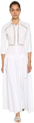 Ermanno Scervino Cotton Poplin Shirt Dress W/Lace Inserts