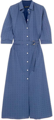 MDS Stripes - Swiss-dot Cotton Dress - Navy