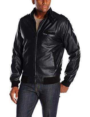 Members Only Men's Big and Tall Vegan Leather Iconic Racer Jacket