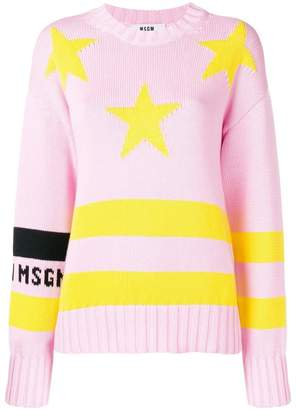 MSGM stripe star detail sweater