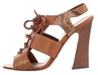 Saint Laurent Snakeskin-Trimmed Lace-Up Sandals