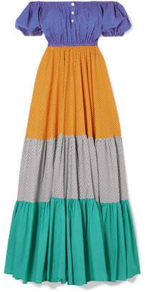 Caroline Constas Bardot Off-the-shoulder Printed Cotton-blend Maxi Dress - Purple