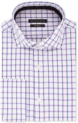 Sean John Men's B&T Classic/Regular-Fit Check French Cuff Dress Shirt