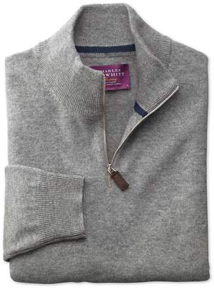 Charles Tyrwhitt Silver Cashmere Zip Neck Sweater Size Large