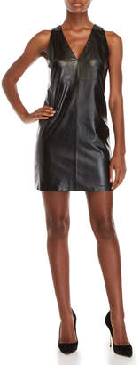 Milly Black Leather Shift Dress