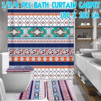 Bohemia Kadell Style Shower Curtain OR 3PCS Bathroom Toilet Cover Mat Non-Slip Rug Set