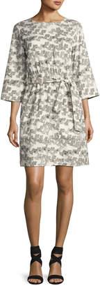 A.P.C. Love 3/4-Sleeve Tie-Waist Dress, White