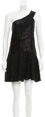 Alice + Olivia Lace-Trimmed One Shoulder Dress
