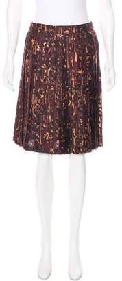 Salvatore Ferragamo Silk Pleated Knee-Length Skirt