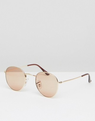 ASOS Metal Round Sunglasses In Gold $13 thestylecure.com