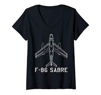 Womens F-86 Sabre Jet Fighter Plane Classic USA Warplane Gift V-Neck T-Shirt