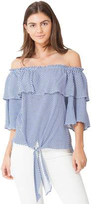 Hale Bob Francine Striped Ruffle Top