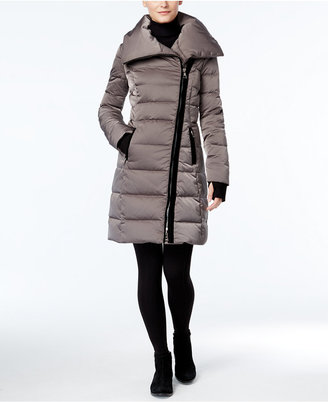 Vera Wang Velvet-Trim Asymmetrical Down Puffer Coat $398 thestylecure.com